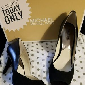 Michael Kors Black peep toe suede & leather heels